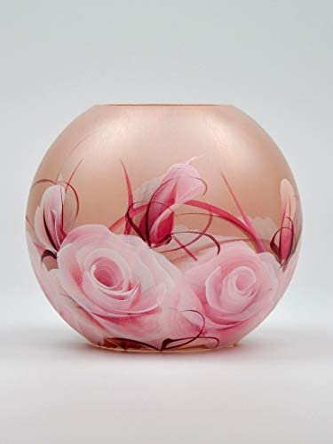 Bright Stroke Small Round Hand Painted Decorative Glass Vase with Floral Rose Design 6.3 in