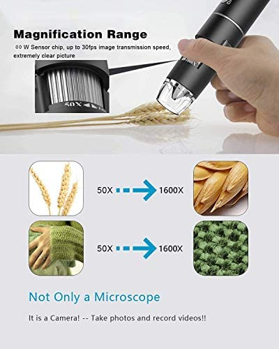 INSHERE 50x-1600x USB Microscope, Handheld Magnifier, 8 LED Lights Micro + USB + Type-C (Three in one) 1080p HD Digital Microscope Perfectly Compatible with Windows 7/8 / 10 and MAC XP Android