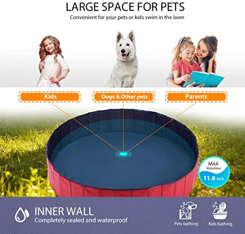 DEStar PVC Foldable Pet Swimming Pool Outdoor Bathtub with Protective Lining for Dogs and Kiddies