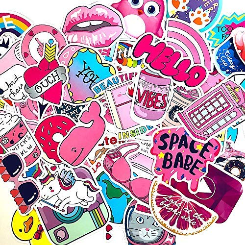 50 pcs Good Vibes VSCO Stickers Vinyl Waterproof Decal Stickers Pack for Water Bottles, Hydro flasks, MacBooks, Helmets, Skateboard, Wall-Cute, Funny, Creative, Trendy for Teens, Girls, Kids, Adults