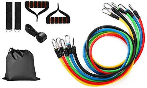 Resistance Bands Set for Workout Bands, Full Kit of Exercise Bands, 11 Piece Includes Door Anchor, Handles, Carrying Bag, and Ankle Straps.