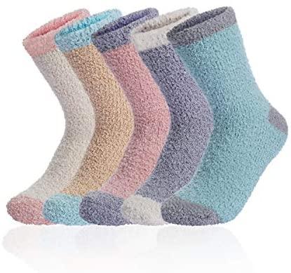 Soft Plush Warm Slipper Fuzzy Socks for Women Winter Fluffy Cozy Sleeping Microfiber Crew Stocking