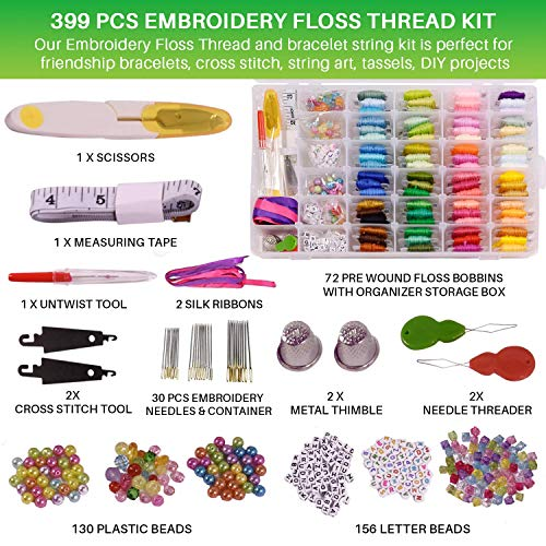 Premium Friendship Bracelet Kit - 399 PCs Embroidery Floss Bracelet Making Kit, 72 Color Bobbins, Embroidery Organizer Storage Box, Cross Stitch Kit Tools, Bracelet String Kit for Kids