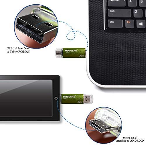 OTG USB Flash Drive Miniseas Micro-Port Memory Stick for Android Phones,USB 2.0 Pen Drive Jump Drive for Tablets, Thumb Drive Pendrive for Android Devices/PC/Tablet/Mac (64GB, Green)