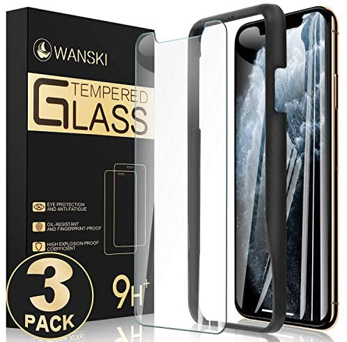 Wanski Screen Protector Compatible for iPhone 11 Pro & iPhone Xs & iPhone X, Tempered Glass Screen Protector, Bubble Free with Guide Frame/Easy Installation [3 Pack] [5.8 Inch]