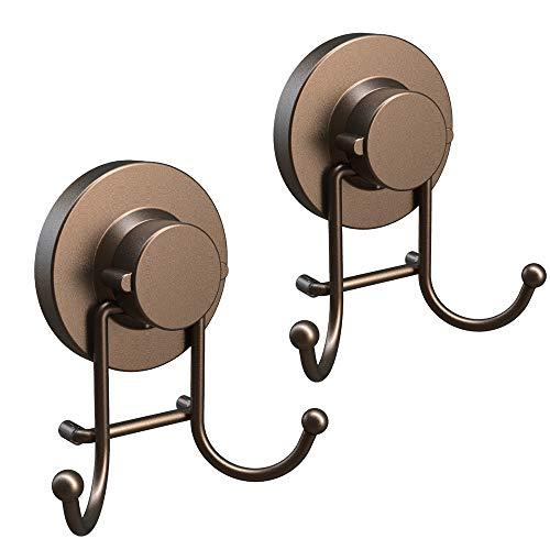 HOME SO Towel Hook Suction Cup Holder - Bathroom, Shower & Kitchen Storage Organizer Hanger Bath Robe, Towel, Coat, Loofah - Stainless Steel, Bronze (2 Pack)