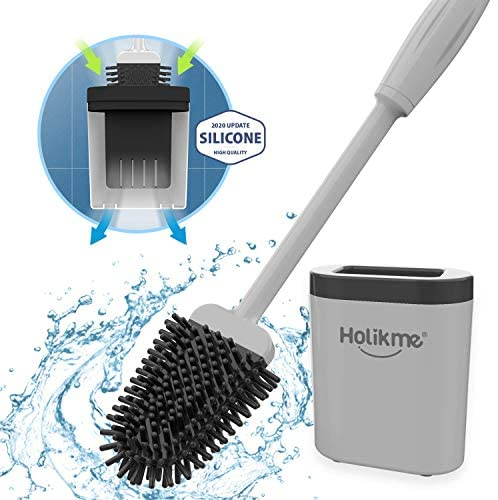 Holikme Silicone Toilet Brush and Holder Set for Bathroom, Deep-Cleaning Toilet Bowl Brush with Non-Slip Long Plastic Handle, Bendable Brush Head to Clean Toilet Corner Easily,Gray
