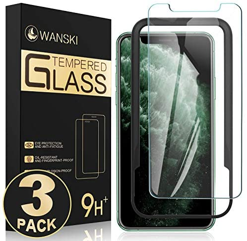 Wanski Tempered Glass Screen Protector Compatible for iPhone 11 Pro Max, iPhone Xs Max, Guide Frame/Easy Installation[3 Pack] [6.5 Inch]