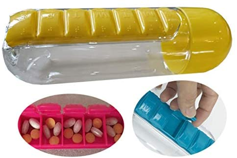 Daily Medicine Box Storage Box and Water Bottle Combination, Medicine Tray Travel Cup, Yellow