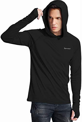 Spowind Men's UPF 50+ Sun Protection Hoodie Shirts Long Sleeve SPF Performance Fishing T-Shirt with Thumbhole