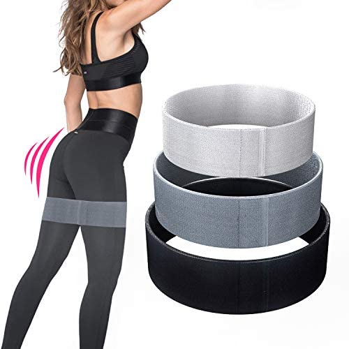 Booty Band Fabric Resistance Bands - Non-Slip Design for Glute and Hip Exercise, 3 Resistance Levels Workout Bands for Fitness, Yoga, and Pilates (Black)