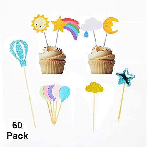 SUNNYHILL 60 Pack Cupcake Toppers Sky Theme Kit Include Cloud Balloon Moon Stars Kit Birthday Party Baking Decoration Supplies