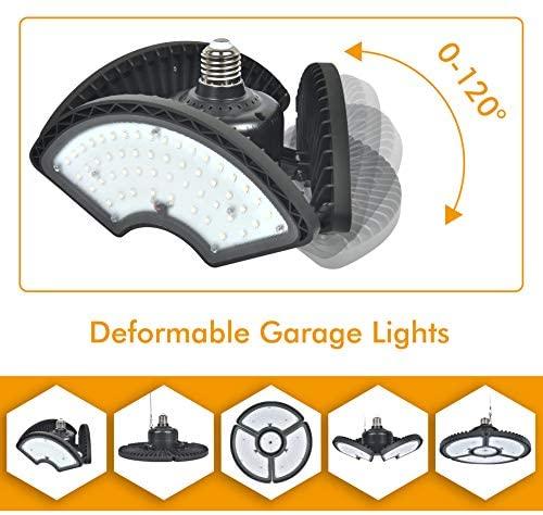 LED Garage Lights, Comzler Garage Light Deformable LED Garage Ceiling Lights 6000K Daylight 6000 Lumens 60W E26 E27 LED Shop Lights Work Lights Garage Lighting Frosted Surface(NO Sensor, No Dimmable)
