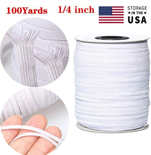 Elastic Band 100Yards 1/4 inch Elastic Strap Elastic Cord Elastic Mask Strap Sewing DIY Crafts(White)