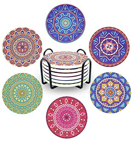 Wanski Exotic Coasters, 6 PCS Ceramic Coaster Set Absorbent Mandala Cup Cork Coasters Round Non-Slip Drink Coasters with Natural Cork Base for Car Home Bar Kitchen Table Counter Protection