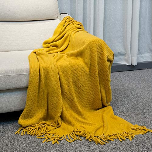 INSHERE Stripe Yellow Gold Mustard Solid Color Knitted Woven Throw Blanket with Tassels Fringe Soft Warm Lightweight All Season Home Decor for Couch Bed Chair Sofa Travel Beach Picnic 51''x67''