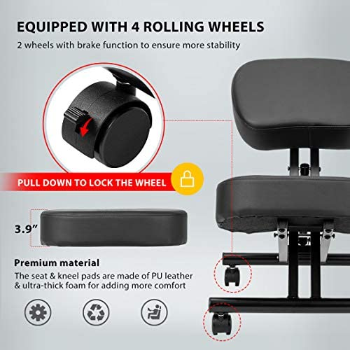 VIVOHOME Ergonomic Kneeling Chair Adjustable Stool with Thick Foam Cushions and Smooth Gliding Casters for Home Office Black