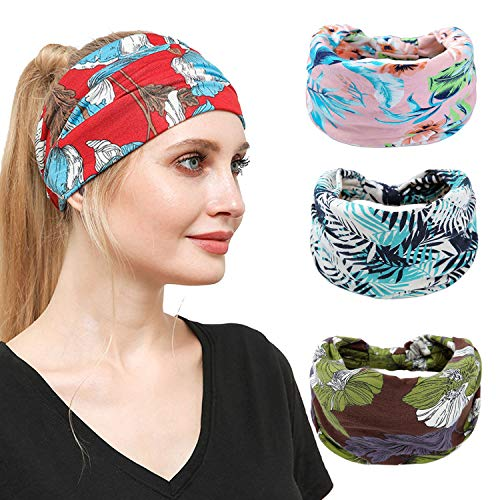 4 Pack Headbands for Women Boho Wide Hair Band Floral Printed Head Wrap Elastic Hairbands Accessories for Sport Yoga Running Headwear