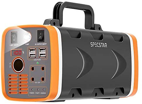 SPECSTAR 78000mAh 288WH Portable Power Station with LED Light, 500W Battery Generator with AC DC USB Outlets and Solar Charging Interface for Emergencies Outdoors