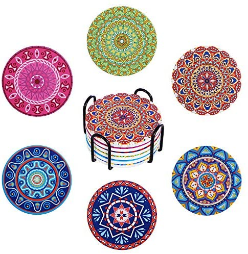 Wanski Coasters for Drinks, Absorbent Coaster with Holder [6-Piece Set], Mandala Ceramic Drink Coaster for Tabletop Protection, Great Gift for Birthday, Holiday Party, 4 Inches