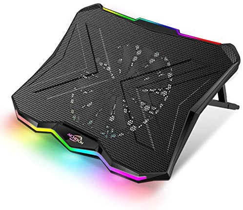 AICHESON Laptop Cooling Cooler Pad 15.6-19 Inch, 1 Big Fan, Rainbow Lights, AA3