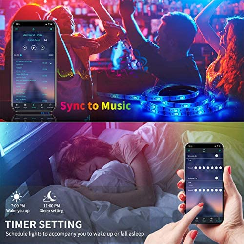 LED Strip Lights,65.6ft RGB 5050 Led Lights for Bedroom,Long Color Changing Rope Lights with Smart App Bluetooth Controller,Remote Sync to Music Light for Room Kitchen bar TV Home
