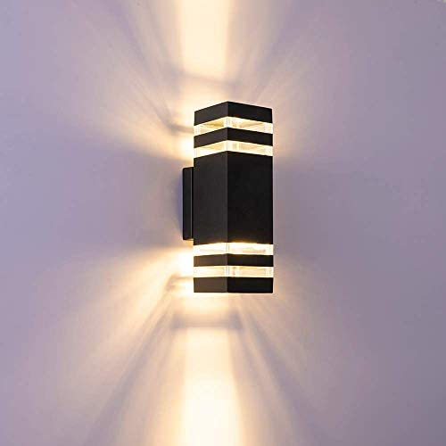RINLNOY Led Wall Sconce Waterproof Porch Light 12W,Black Modern -Light Outdoor Wall Lamp,1320 Lumen,IP65 Waterproof Up and Down Light, Indoor Outdoor Porch Light Fixture, 3000K Warm White