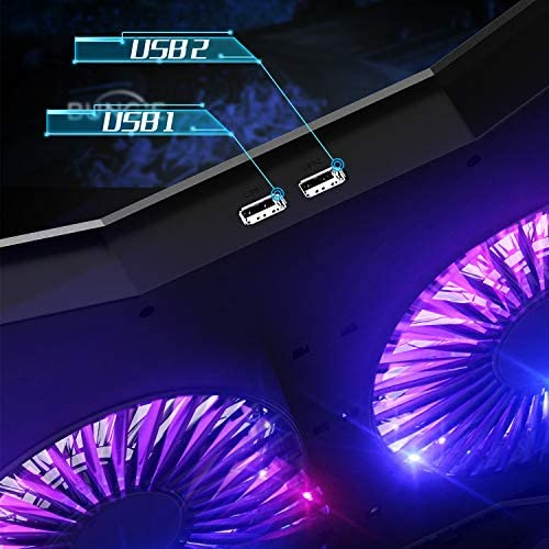 AICHESON Full RGB Lights Laptop Cooling Cooler Pad 2 Turbine Fans for 15.6-17.3 Inch Gaming Notebooks