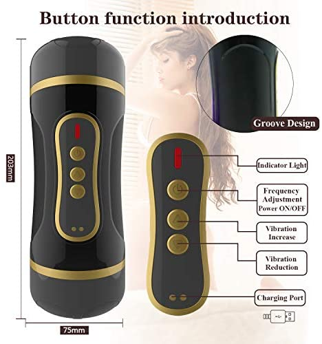 Male Masturbator Cup, Pocket Pussy Stroker with 2-in-1 Vagina and Oral Masturbation, 10 Vibration Realistic Textured Vagina Vibrating Stroker Mens Sex Sexual Toy Massager for Male Men Couples