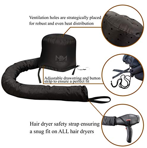 Bonnet Hair Dryer Attachment-W/ 10 Silicone Hair Curlers-Extra Large Adjustable Soft Hooded Hair Dryer Bonnet With Extra Long Hose For Drying,Styling,Curling&Deep Conditioning Fits All Head&Hair Sizes