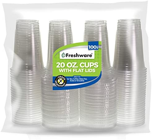 Freshware Plastic Cups with Lids [20 oz, 100-Pack] - Disposable Cold Drink Party Cups, Crystal Clear PET Cups