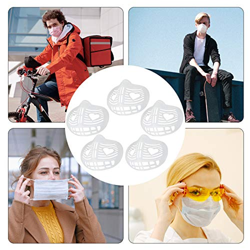 3D Lipstick Protector Mask Bracket,Silicone Bracket Internal Support Frame for Comfortable Breathing,Soft Inner Bracket Keep Fabric off Mouth to Create More Breathing Space (5PCS)