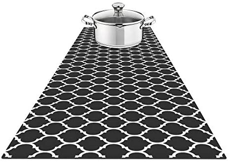Fennoma Hotrun 2 in 1 Trivet and Decorative Table Runner Handles Heat Up to 356F, Anti Slip, Waterproof, and Convenient for Hot Dishes and Pots (Décor Black)