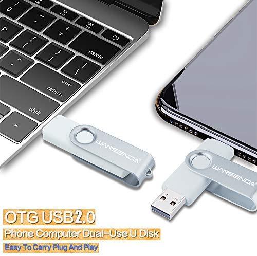 Wansenda S100 OTG USB Flash Drive USB 2.0 Pen Drive 16GB 32GB 64GB 128GB 256GB for Android Devices/PC/Tablet/Mac (128GB, White)