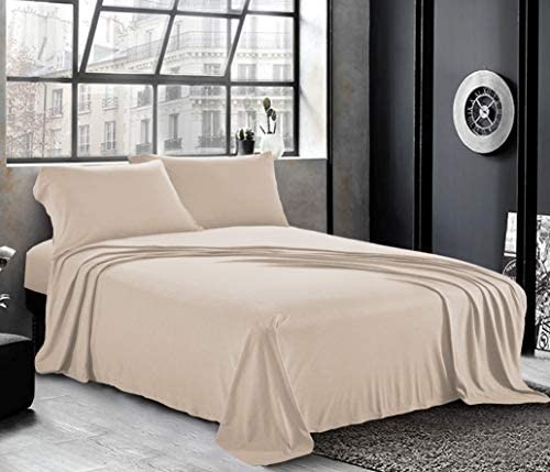 Pure Bedding Jersey Sheets Queen [4-Piece, Beige] Cotton Bed Sheets - Extra Soft Cotton Sheet Set, Cozy T-Shirt All Season Heather Sheets - Deep Pocket Fitted Sheet, Flat Sheet, Pillow Cases