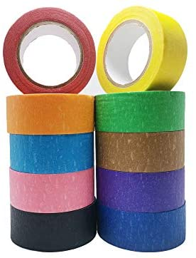 10pcs Colored Masking Tape, Decorative Craft Tape, Colored Painters Tape for DIY Arts & Crafts, Labeling or Coding, 1 Inch x 13 Yards (2.4cm X 12m)