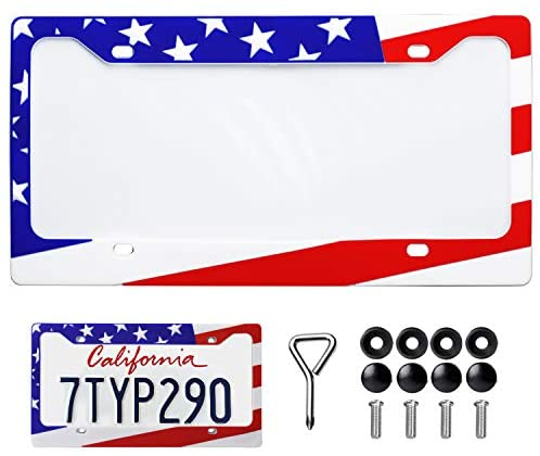 SEVENS Sparta Silicone License Plate Frame American Flag Design with Screws Rust-Proof Rattle-Proof Universal License Plate Holder