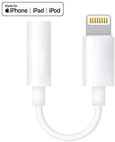 Apple MFI Certified Lightning to 3.5mm Headphone Jack Adapte (White)