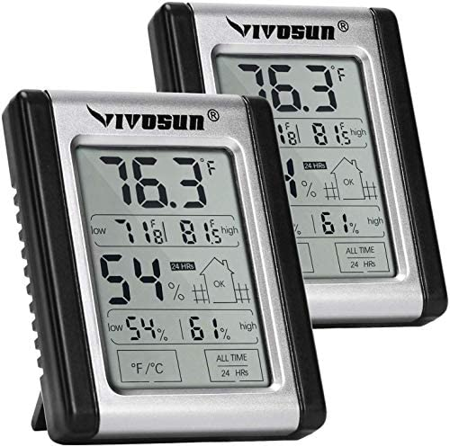VIVOSUN 2 Pack Digital Indoor Thermometer and Hygrometer with Humidity Guage, Accurate Temperature Humidity Monitor Meter for Home, Office, Greenhouse, Indoor Garden, Button Battery Included
