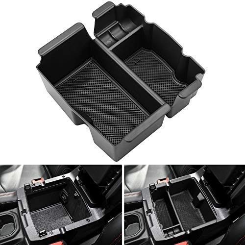 Seven Sparta Center Console Organizer for for Jeep Wrangler JL/JLU 2018-2019 and Gladiator JT 2020 ABS Console Tray with Anti-Slip Rubber Pad