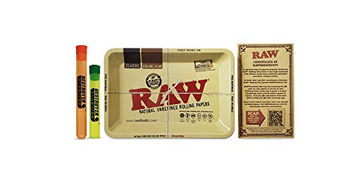 """100% Authentic Raw Trays Bundled with Two Exclusive Destroyer Plastics Doob Tubes One Large One Small (5"""" x 7"""" Mini, Raw Original)"""