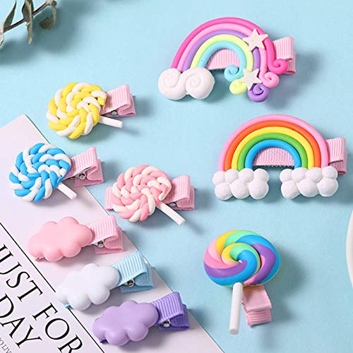 Sunormi 9Pcs Baby Girl Cloud Lollipop Rainbow Hair Clips Set For Girls Toddler Kids Princess Hair Pins Clips Barrettes Hair Accessories