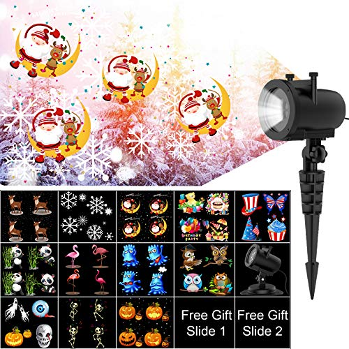 AICHESON LED Projector Lights 12 Slides Christams Lightshow Projection Waterproof Decorative Animated Xmas Lighting for Outdoor Indoor Holiday House Party