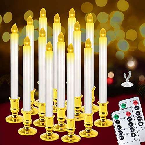 Christmas Window Candles Lights,14 Pack Battery Operated Flameless Taper Candles with 2 Remote Control and Timer,Removable Golden Holder, Suction Cup for Seasonal & Festival Home Decor,Warm White,10""