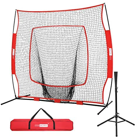 VIVOHOME 7 x 7 Feet Baseball Backstop Softball Practice Net with Strike Zone Target Tee and Carry Bag for Batting Hitting and Pitching