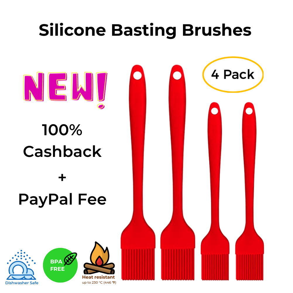 Silicone Basting Brush Set of Four Heat Resistant Long Handle Pastry Brush for Grilling, Baking, BBQ and Cooking, Solid Core and Hygienic Solid Coating 4 Pack -Red