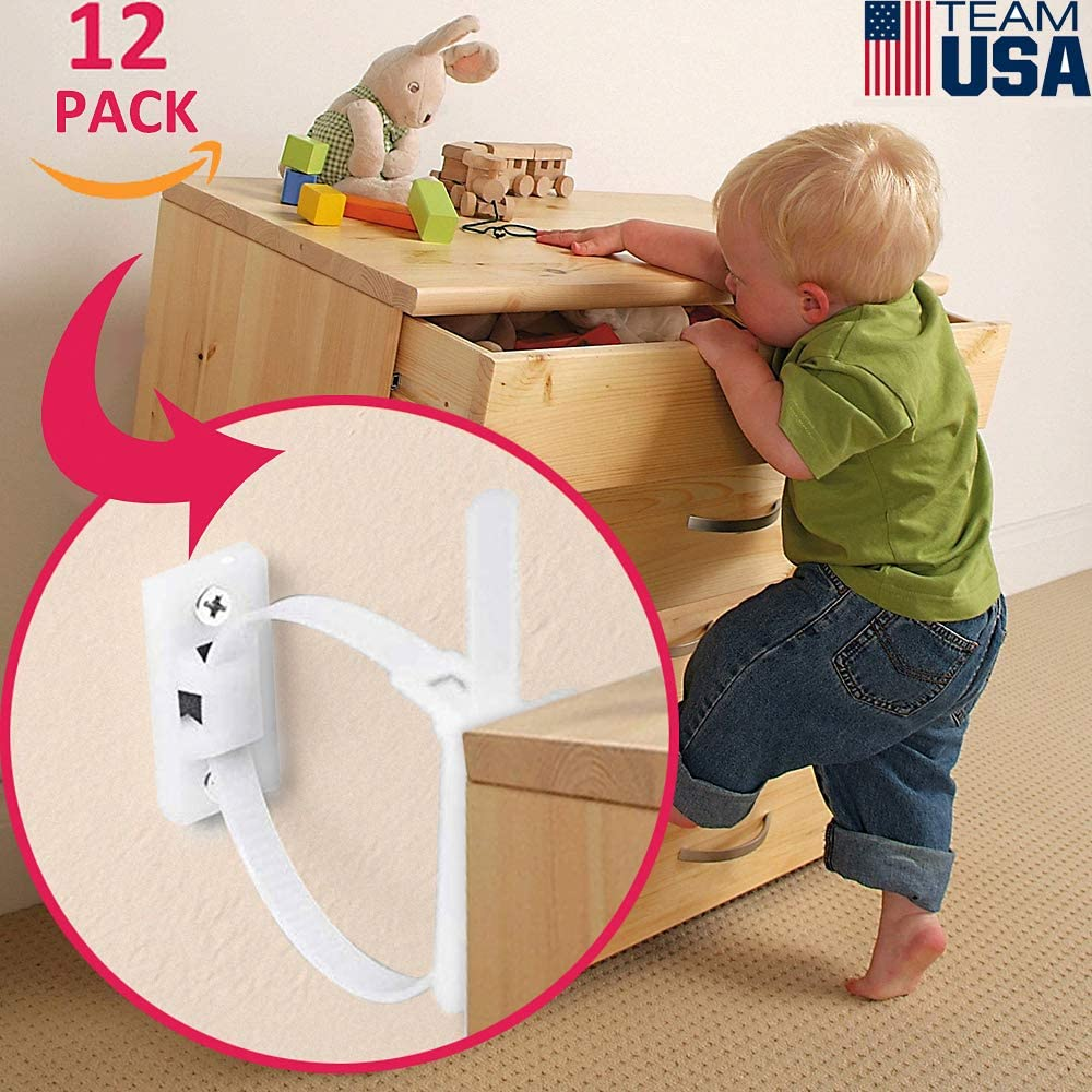 Furniture Anchors for Baby Proofing(12 Pack) Furniture Straps Kit Anti Tip baby dresser baby proof cabinet latches