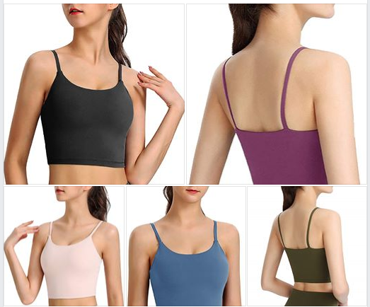 High Impact Sports Bras for Women Padded Yoga Workout Tank Tops Longline Camisole Crop Tops