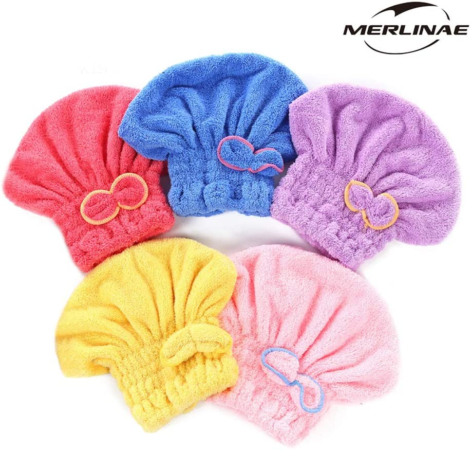 MERLINAE 5 Pack Bowknot Microfiber Hair Drying Towels,Fast Coral Velvet Drying Long Hair Turban Wrap,Absorbent Twist Turban Princess Shower Cap for Women and Children