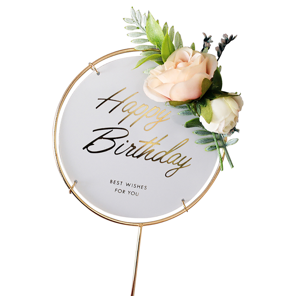 Sunormi Gold Circle Frame Flowers Cake Toppers With Happy Birthday Words Cake Decorations For Young Girls Kids Mother Women Birthday Cake
